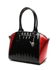 Lady Vamp Tote Black Shiny and Red Sparkle