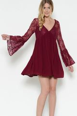 Burgundy Flare Bell Sleeve Lace Dress