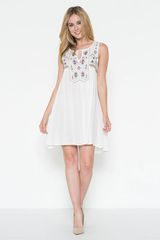 White Embroidery Swing Dress