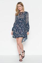 Front Lace Up Boho Stye Navy Print Dress