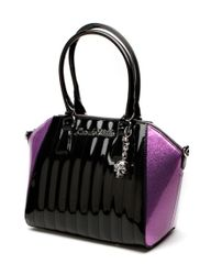 Lady Vamp Tote Black Shiny and Violet Sparkle