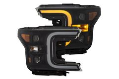 ANZO Projector Headlights w/Plank Style Switchback Black w/Amber 2018-19 Ford F-150