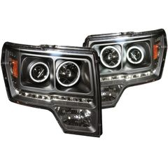 ANZO Projector Headlights w/ Halo Black CCFL - 2011-2014 Ford F150