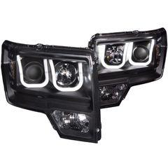 ANZO Projector Headlights U-Bar Black Clear 2011-2014 Ford F150