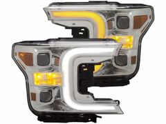 ANZO Projector Headlights w/Plank Style Switchback Chrome w/Amber 2018-19 Ford F-150