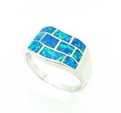 11OP17 STERLING SILVER INLAID OPAL RING