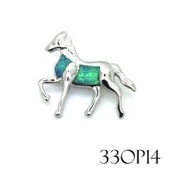 33OP14 Sterling Silver ,925 Opal horse pendant