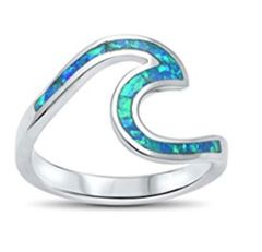 11273 OPAL WAVE RING, STERLING SILVER