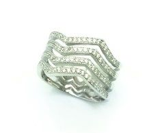 925 SILVER 4 CHANNEL WIDE CZ CIGAR BAND RING , 11CZ22