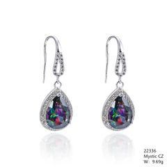 Mystic Rainbow CZ Silver Earrings,22336, CZ Fishwire Hook