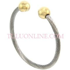 SSB409 MAGNETIC S,STEEL CABLE BALL BANGLES