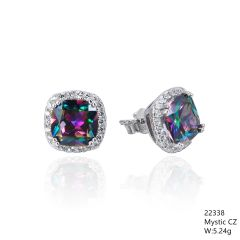 Mystic Rainbow CZ Silver Earrings ,22338,Halo, Square Shape CZ Stud