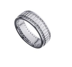 11CZ154 Sterling Silver Man CZ Band Ring