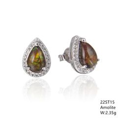 Ammolite Halo Post Earrings in Silver 22st15