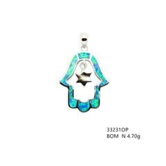 925 Silver Inalid lab Created Opal hand Pendant