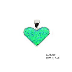 Silver Lab Created Opal Heart Pendants , 33232