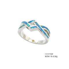 925 SILVER LAB INLAID OPAL PUZZEL XO RINGS- 11177-K5