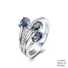 STERLING SILVER SYN MYSTIC STONE RING.11CZ140