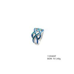 925 SILVER,LAB CREATED INLIAD BLUE,OPAL INFINITY RINGS, 11058-K5