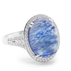 11ST25 BLUE WATERMELON AGETA SILVER RING
