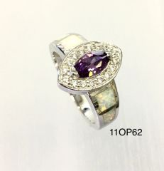 925 ST,SILVER LAB WHITE OPAL MARQUISE AMETHYST CZ RING-11OP62-K17-AMTH