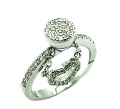 925 STERLING SILVER DANGLING HEART RING, 11CZ117-WH