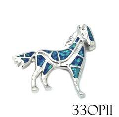 33OP11silver Opal Horse pendant
