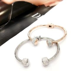Stainless Steel CZ CRYSTAL BALL Bangle . SSB50345
