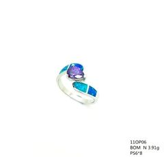 11OP06-925 STERLING SILVER MAN MADE INLAID OPAL RING