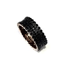 MICRO PAVE SETTING RING, 8mm WIDE CZ BAND-11CZ47-BLACK CZ