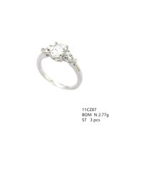 11cz87 Sterling Silver Cubic Zirconium Ring