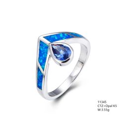 Created Inlaid Opal silver ring with drop shape color cz , 11345
