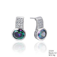 Mystic Rainbow CZ Silver Earrings ,22324,Full CZ Stud Bar