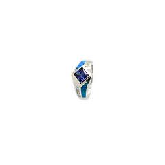 925 ST,SILVER LAB BLUE OPAL PRINCESS CUT TANZNITE CZ RING,11OP56-K5-TANZ