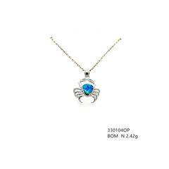 925 silver lab blue opal crab pendant , 33104-k5