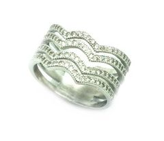 925 STERLING SILVER MICRO SETTING CZ CHANNELS WAVE RING , 11CZ35-WH