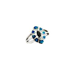 11OP04 STERLING SILVER INLAID OPAL RING