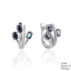 Mystic Rainbow CZ Silver Earrings ,22340,triple leaf french back earrings