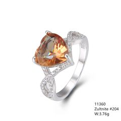 Color Changeable Alexadriate , Silver Ring 11360-ZL,HEART SHAPE
