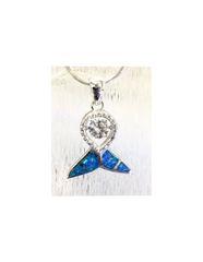 925 silver lab opal dancing diamond Whale tail pendants, 33464-k5