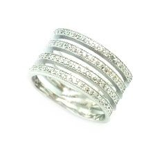 925 STERLING SILVER MICRO SETTING CZ CHANNELS WIDE RING , 11CZ34-WH