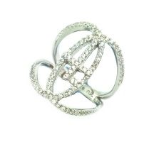 925 SILVER CROSS RING, KNUCKLE BAND, 11CZ25