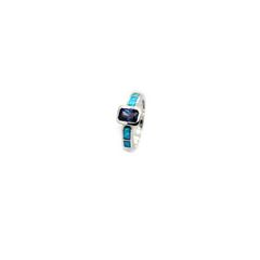925 ST,SILVER LAB BLUE OPAL RECTANGLE TANZNITE CZ RING-11OP61-TANZ