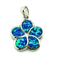 33op01-12mm Sterling suilver Lab OPal Haweaian Flower Pendant 12 mm