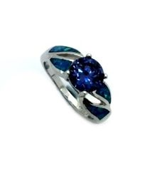 925 STERLING SILVER MAN MADE INLAID OPAL RING 11OP07