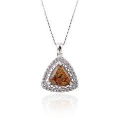 Ammolite , Triangle Silver Pendant,33st21