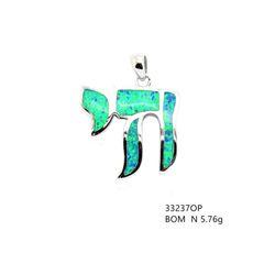 925 Silver ,Jewish Chai , Inlaid Lab Opal Pendant, 33237