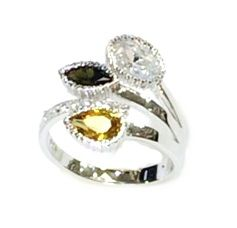 925 STERLING SILVER 3TRIPLE COLOR LEAF RING, 11CZ140-MUL