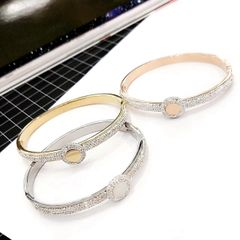 Stainless Steel Crystal Coin Bangle . ssb50352