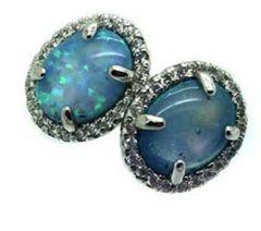 925 SILVR OVAL LAB BLUE OPAL STUD EARRINGS ,22ST17-K6